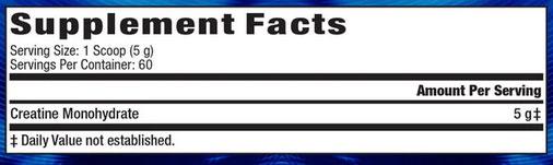 MHP Creatine Supplement Facts