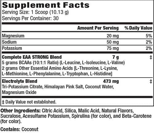 EAA Strong Supplement Facts