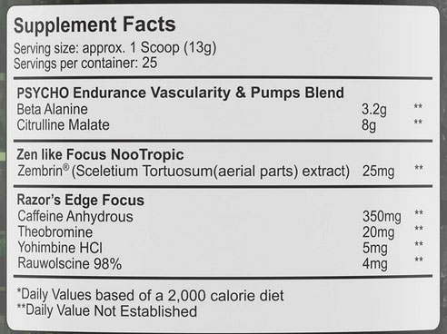 Edge of Insanity Nutrition Facts