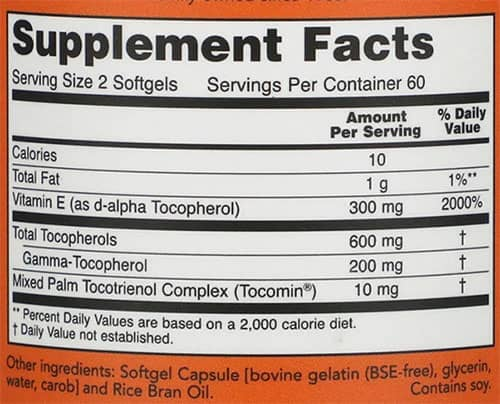 NOW Advanced Gamma E Supplement Facts