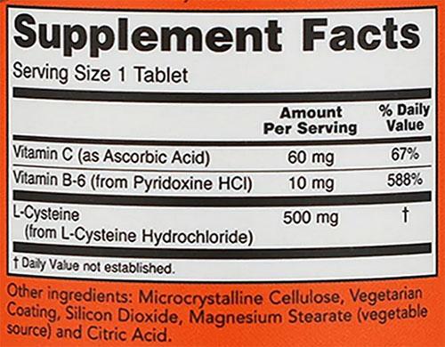 NOW L-Cysteine Supplement Facts