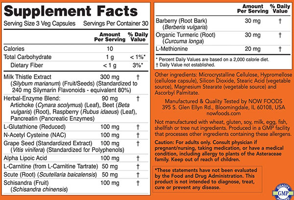 NOW Liver Refresh Supplement Facts