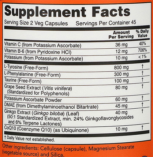 NOW True Focus Supplement Facts