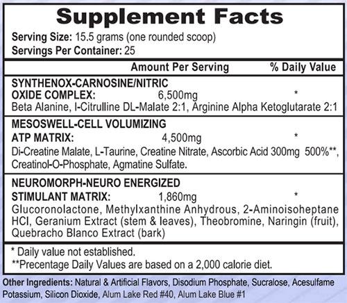 Mesomorph V4 Supplement Facts