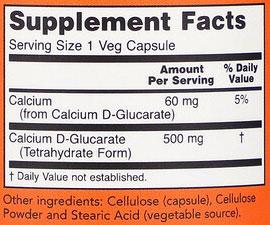NOW Calcium D-Glucarate Supplement Facts