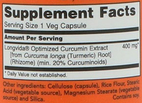 NOW Curcubrain Supplement Facts