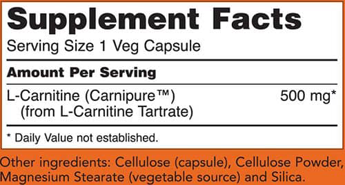 NOW L-Carnitine Capsules Supplement Facts
