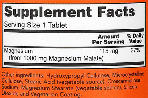 NOW Magnesium Malate Supplement Facts