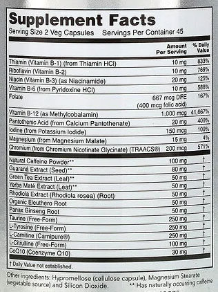 NOW Sports Energy Extreme Supplement Facts