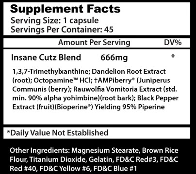Insane Cutz Ingredients
