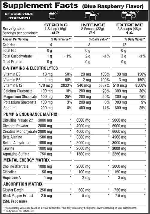 PSP Pre Workout Supplement Facts V2