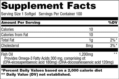 Universal Nutrition Fish Oil Supplement Facts