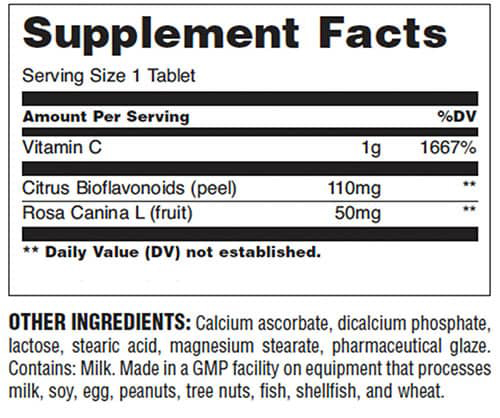 Universal Nutrition Vitamin C Buffered Supplement Facts