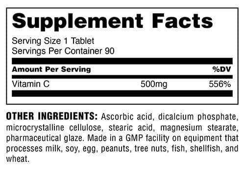 Universal Nutrition Vitamin C Supplement Facts