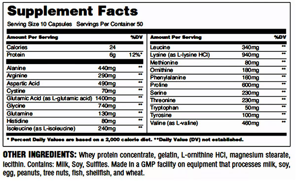 Universal Nutrition Amino 1000 Supplement Facts