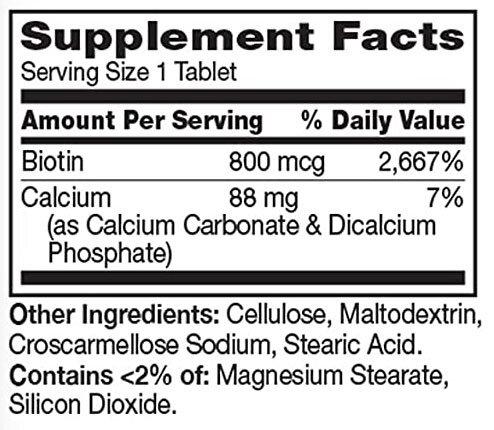21st Century Biotin Supplement Facts