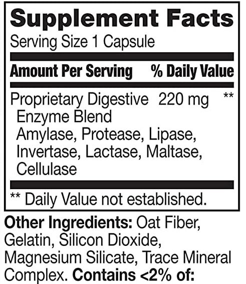 21st Century Digestive Enzymes Supplement Facts