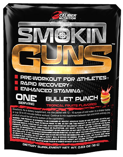 Smoking Guns Pre Workout By Caliber Nutrition, Bullet Punch, Single Serving Packet