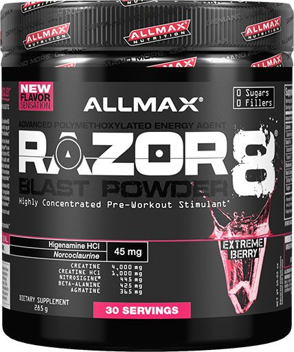 Razor 8 Blast Powder By Allmax Nutrition, Extreme Berry, 30 Servings
