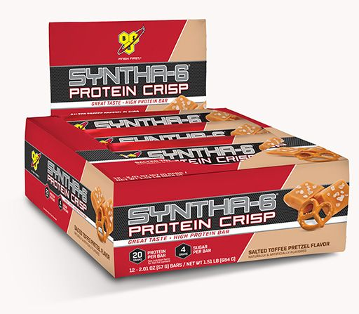 Syntha 6 Protein Crisp Bars By BSN, Salted Toffee Pretzel, 12/Box