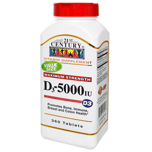 21st Century Vitamin D-5000 iu 360 Tabs