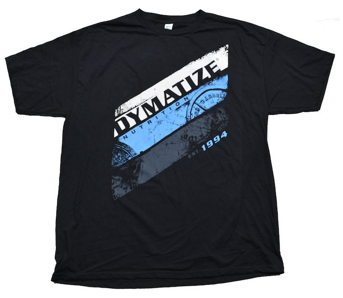 Dymatize Nutrition Black T-Shirt with Dymatize Design on Front