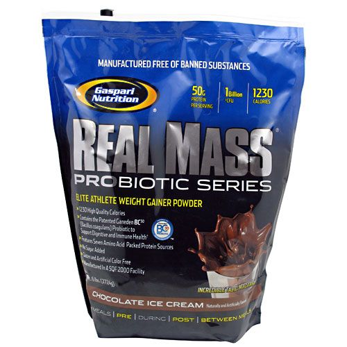 Gaspari Nutrition Real Mass Probiotic Series Chocolate 6 lb Weight Gainer
