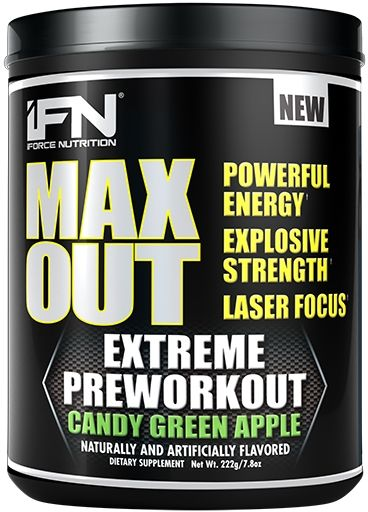 Max Out Pre Workout, By iForce Nutrition, Candy Green Apple, 30 Servings