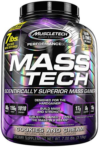 Mass Tech By MuscleTech, Weight Gainer, Cookies and Cream, 7lb