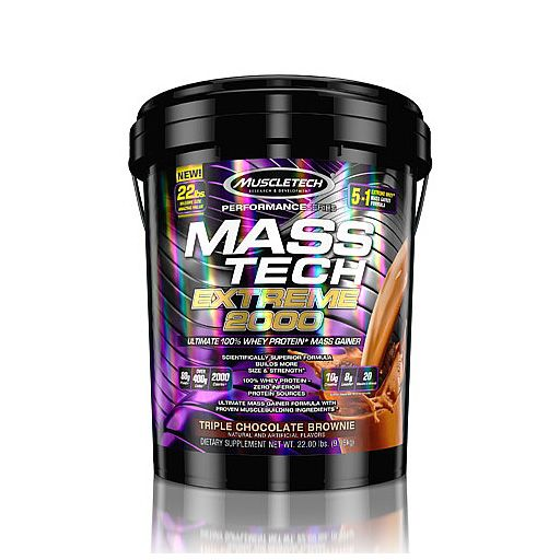 Mass Tech Extreme 2000 By MuscleTech, Triple Chocolate Brownie, 22lb