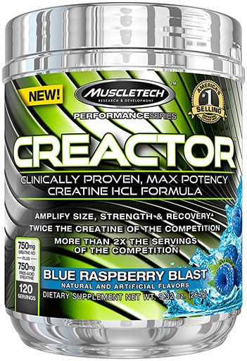 Creactor, Creatine, By MuscleTech, Blue Raspberry, 120 Servings,