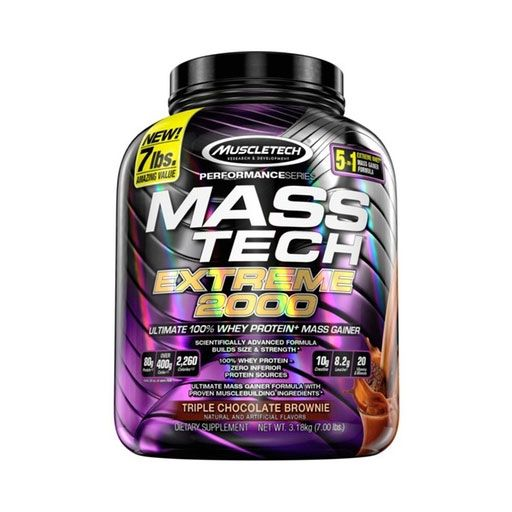 Mass Tech Extreme 2000 By MuscleTech, Triple Chocolate Brownie, 7lb