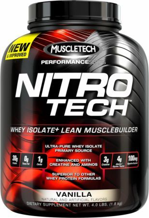 Nitro Tech, Protein, By MuscleTech, Vanilla 4lb