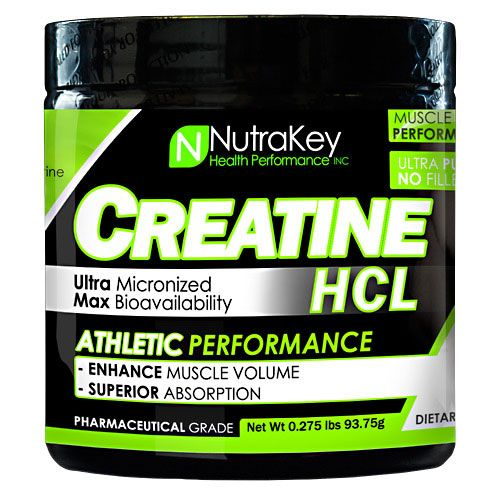 NutraKey Creatine HCL, Unflavored, 125 Servings