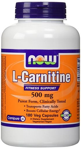 NOW L-Carnitine, 500 mg, 180 VCaps