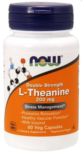 NOW Foods L-Theanine, 200 mg, 60 Veg Caps