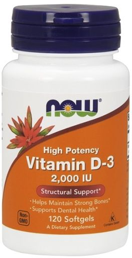 NOW, Vitamin D-3, 2,000 IU, 120 Softgels,