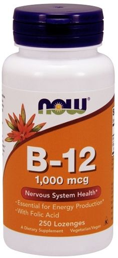 NOW Vitamin B-12  with Folic Acid - 250 Chewable Lozenges