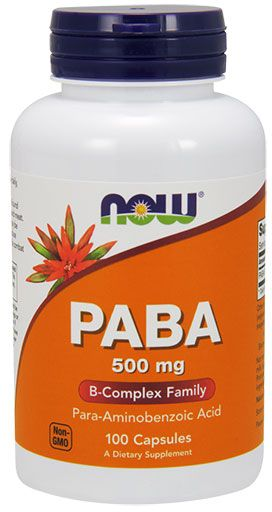 NOW PABA 500mg (Para-aminobenzoic Acid) - 100 Caps