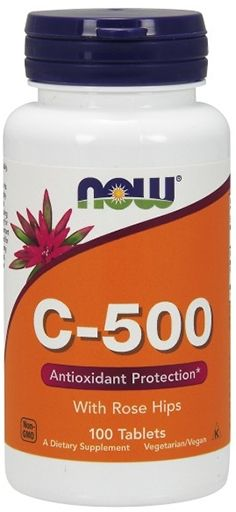NOW, Vitamin C-500, with Rose Hips, 100 Tabs