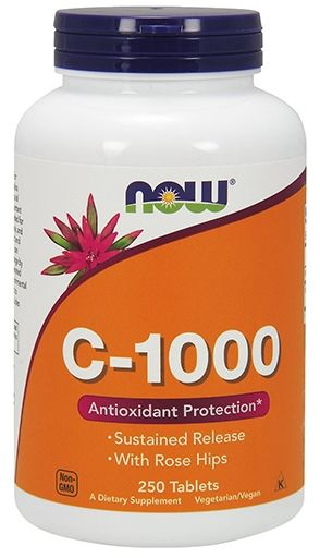 NOW Vitamin C-1000 Time Released with Rose Hips - 250 Tabs