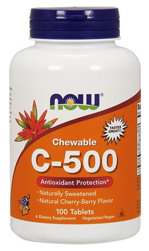 NOW Vitamin C-500 Cherry Chewable - 100 Lozenges