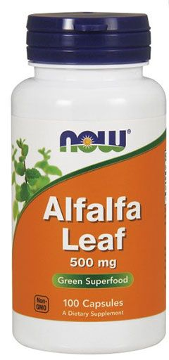 Alfalfa Leaf, By NOW Foods, 500 mg, 100 Caps, Image