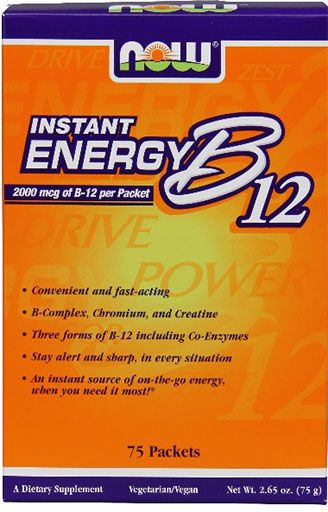 Instant Energy B-12, By NOW Foods, 2000 mcg, 75 Packets, Image