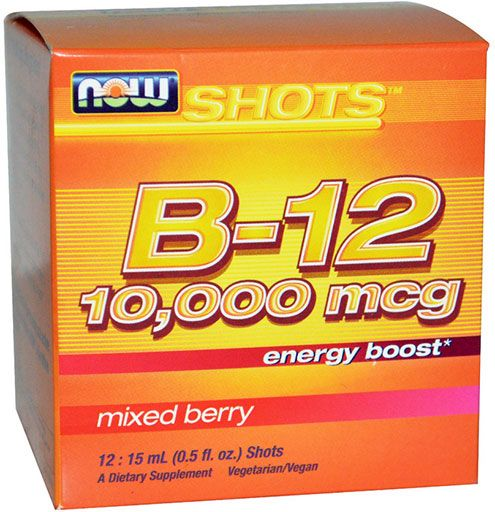 B12 By NOW Foods, Energy Boost, 10,000 mcg, Mixed Berry, 12: 15 mL Shots