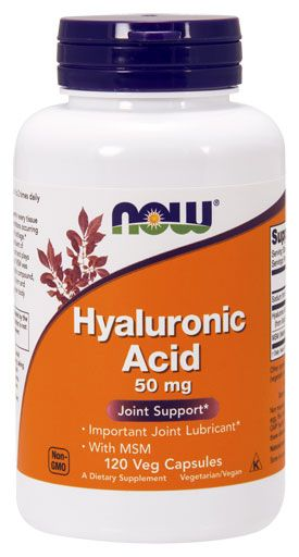 NOW Hyaluronic Acid with MSM, 120 Veg Caps