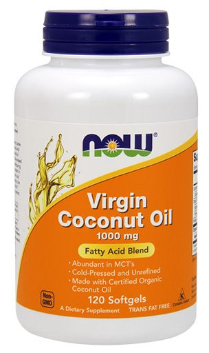 NOW Virgin Coconut Oil, 1000 mg, 120 Softgels
