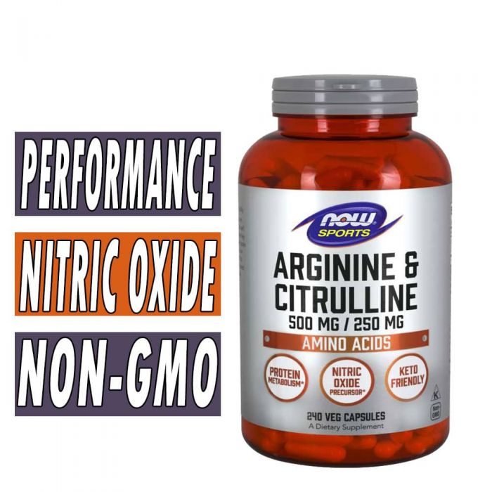 NOW Arginine and Citrulline, 500/250 mg, 240 Veg Caps