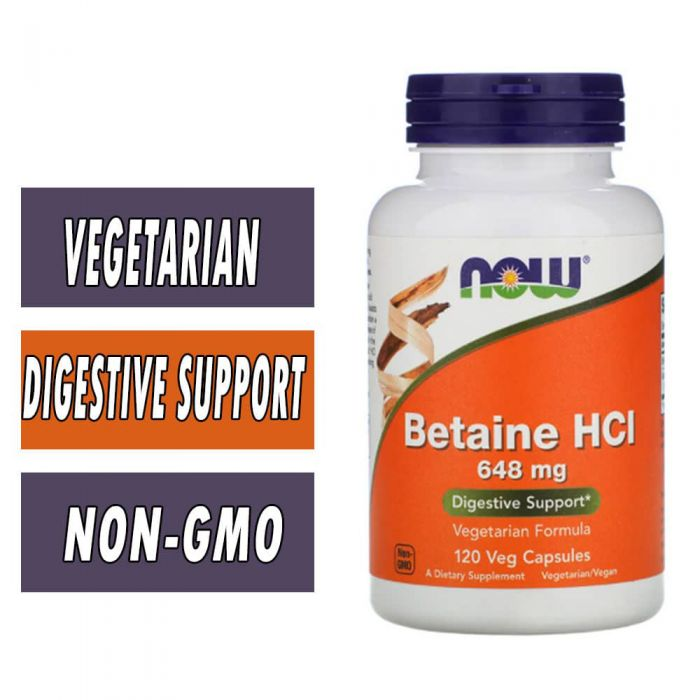 NOW Betaine HCL, 648 mg, 120 Caps