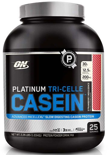 Platinum Tri-Celle Casein By Optimum Nutrition, Strawberry Indulgence 25 Servings
